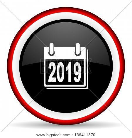 new year 2019 round glossy icon, modern design web element