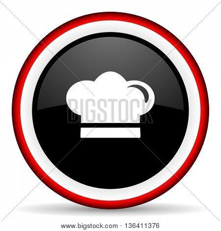 cook round glossy icon, modern design web element