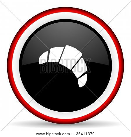 croissant round glossy icon, modern design web element