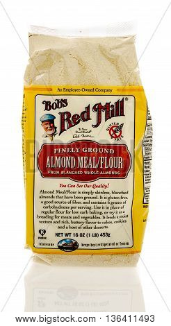 Winneconne WI - 13 June 2016: Bag of Bob's Red mill almond flour on an isolated background