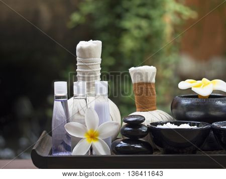Spa massage compress balls, herbal ball with salt, turmeric and aroma, Thailand, select focus