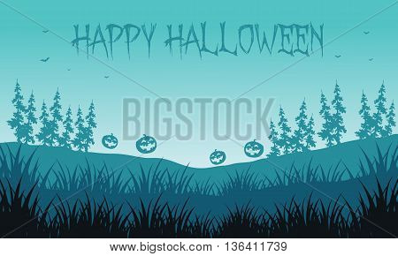 Silhouette of pumpkins in fields Halloween backgrounds vector