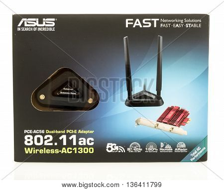 Winneconne WI - 29 June 2016: Package of an ASUS 802.11AC wireless card for a desktop computer on an isolated background