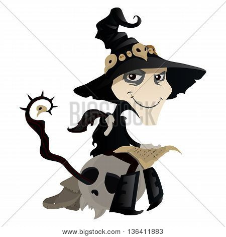 Wizard writing a letter sitting on skull. The character for Halloween isolated on a white background. Funny magician in cartoon style. Vector illustration.