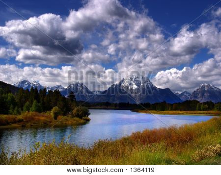 View of the oxbow bend teton national