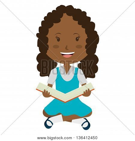 smiling school avatar little girl wearing colorful dress  and holding an open book front view over isolated background, school concept, vector illustration