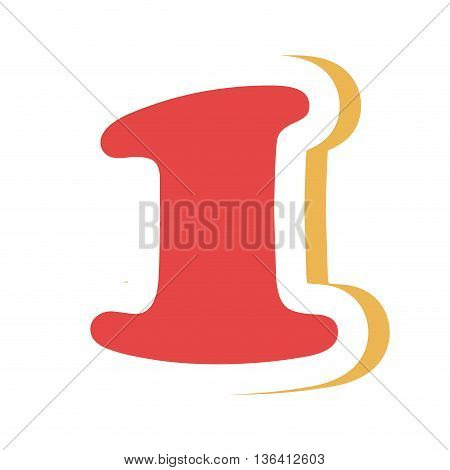 red colorful one number with yellow color on the right side front view over isolated background, school concept, vector illustration