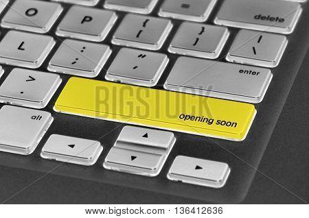 Keyboard  Button Written Word Opening Soon