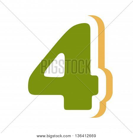 green colorful four number with yellow color on the right side front view over isolated background, school concept, vector illustration