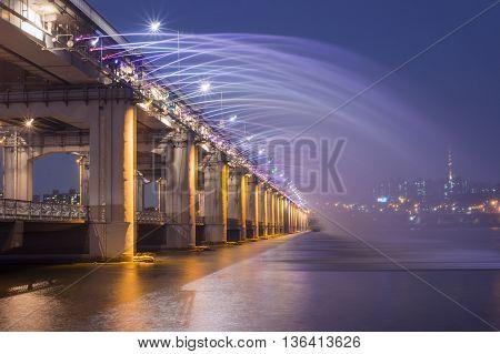 SEOULSouth Korea - MAY 23:Rainbow bridge in seoul. MAY 23 2016 in Seoul South Korea