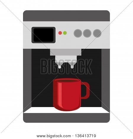 black grey and white  electronic coffee maker with red cup front view over isolated background, vector illustration