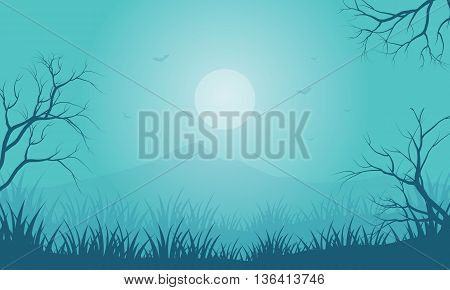 Silhouette of Halloween foggy and moon vector illustration