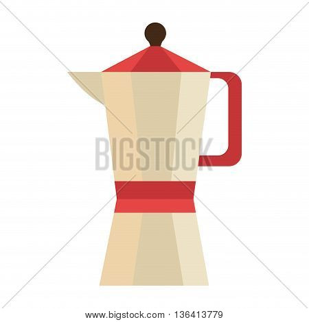 yellow and red coffee pitcher side view over isolated background, vector illustration