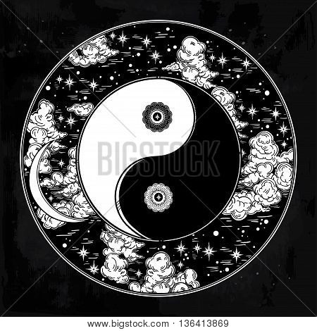Hand drawn romantic beautiful round drawing of a night sky with Yin and Yang trendy boho symbol. Vector illustration isolated. Ethnic design, mystic symbol for your use.