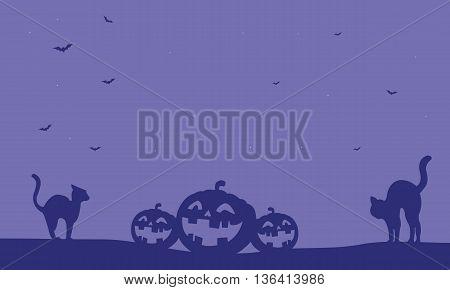 Halloween pumpkin and cat vector on purple backgrounds