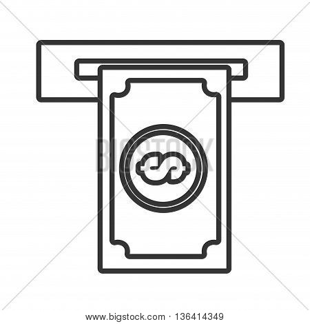 black and white money bill with money icon and a open square over isolated background, commerce concept, vector illustration