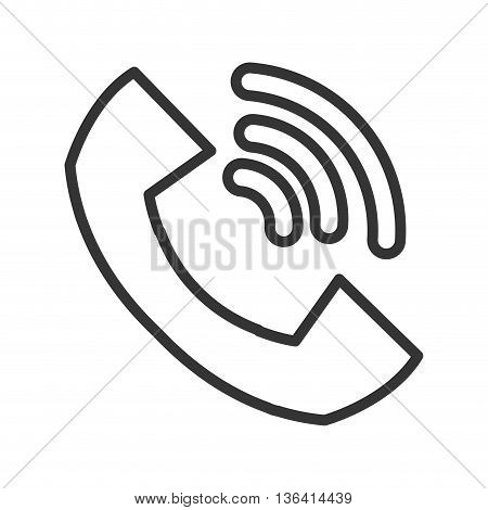 big black and white ringing phone over isolated background, communication concept, vector illustration