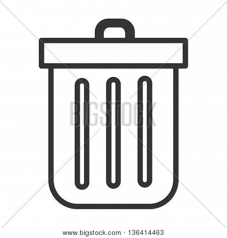 black and white trash bin with cover over isolated background, vector illustration
