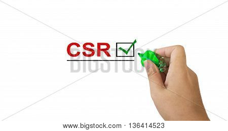 Text Csr In Red Colour With Isolated Hand