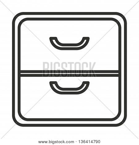 black and white file cabinet over isolated background, vector illustration