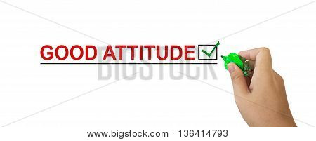 Text Good Attitude In Red Colour With Isolated Hand