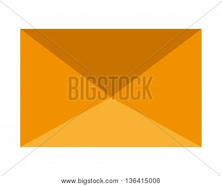 yellow mail envelope front view over isolated background, vector illustration