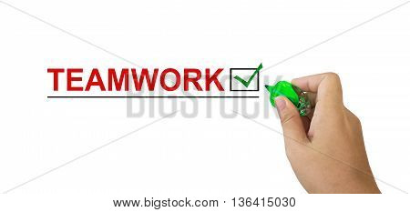 Text Teamwork In Red Colour With Isolated Hand