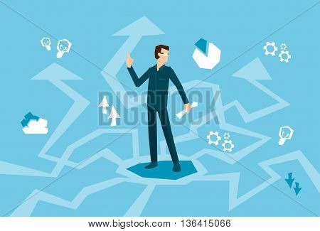 Business Man Think Strategy Arrow Background Flat Vector Illustration