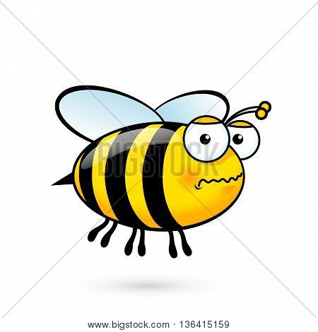 Illustration of a Friendly Cute Bee in Fear on White