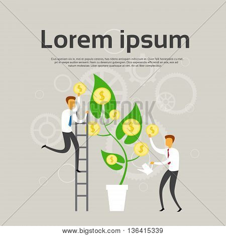 Business People Grow Money Tree With Coins Success Profit Concept Flat Vector Illustration