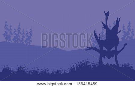 Silhouette of monster tree halloween vector illustration
