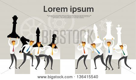 Business People Team Hold Chess Figures Battle Strategy Concept Flat Vector Illustration