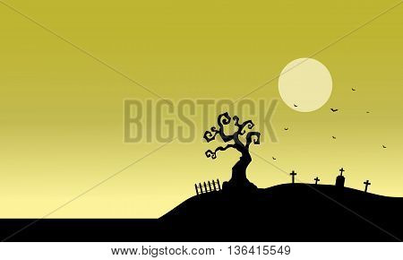 Silhouette of tomb and fields vector illustration at afternoon
