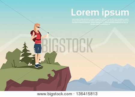 Traveler Woman Stand On Hill Hiker With Rucksack Nature Mountain Background Vector Illustration
