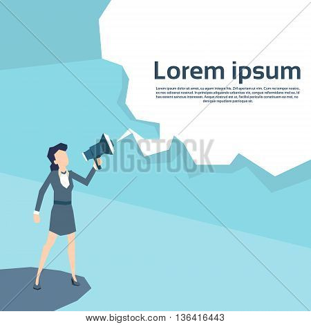 Businesswoman Hold Megaphone Chat Bubble Copy Space Business Woman Leader Loudspeaker Flat Vector Illustration