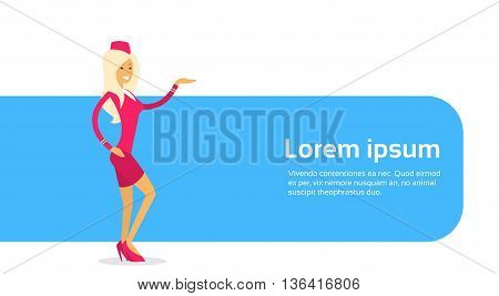 Stewardess In Uniform Open Palm To Copy Space Flat Vector Illustration