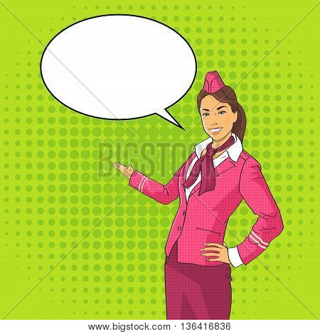 Stewardess Open Palm To Chat Bubble Pop Art Colorful Retro Style Vector Illustration