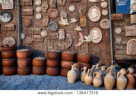 Clay Pots And Souvenir At Goreme Market