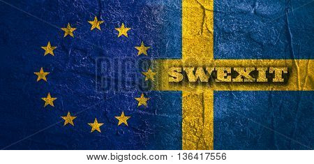 Image relative to politic relationships between European Union and Sweden. National flags textured by concrete. Swexit text