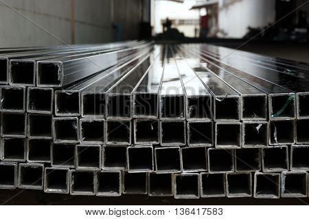 abstract of metal square tube for background used