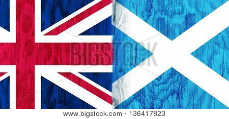 Image relative to politic relationships between United Kingdom and Scotland. National flags textured by wood