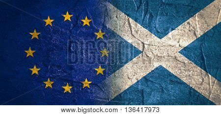 Image relative to politic relationships between European Union and Scotland. National flags textured by concrete