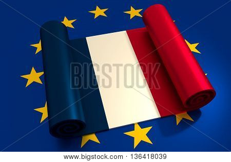 France and European Union relationships relative image. Frexit named politic process. Metallic material scroll textured by national flag. 3D rendering
