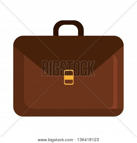 brown business suitcase front view over isolated background, vector illustration