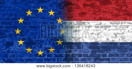 Image relative to politic relationships between European Union and Netherlands. National flags textured by brick wall.