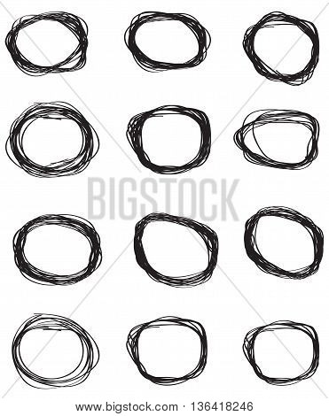 Vector set of hand drawn scribble circles backgrounds computer icon weaving