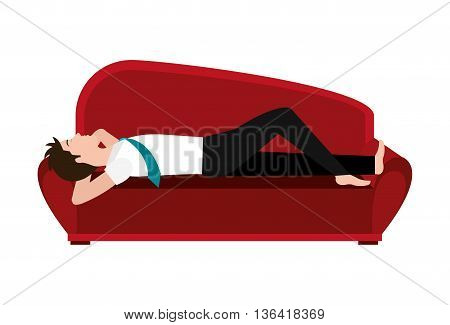 big red couch and avatar man sleeping front view over isolated background, vector illustration