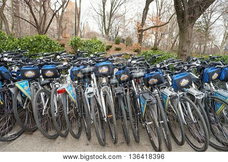 NEW YORK - CIRCA MARCH 2016: bicycles in New York at daytime. The City of New York is the most populous city in the United States.