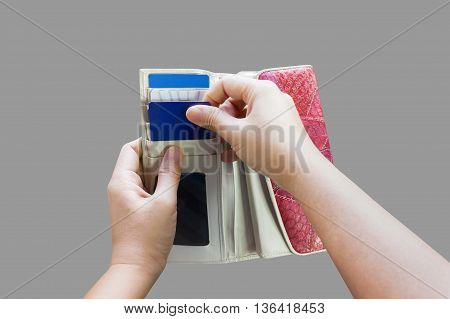 Hands Pull Credit Or Debit Card Out Of Wallet