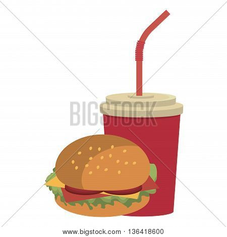 red cup nd straw with burger front view over isolated background, fast food concept, vector illustration